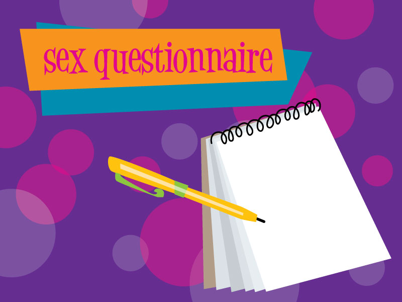 sex questionnaire notepad and pen cartoon