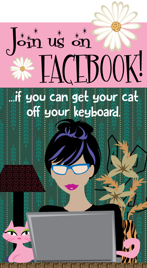 cute comic of woman on computer and cat on keyboard