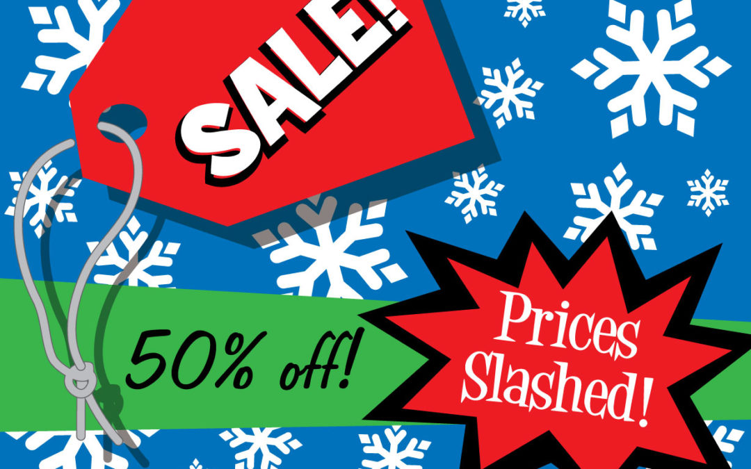 comic illustration of holiday sales tickets and slashed prices