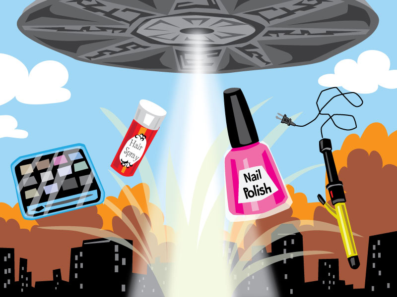 aliens blow up the planet destroying all beauty products comic illustration